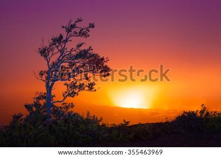 Beautiful glow from volcanic eruption at night on Big Island, Hawaii - stock photo