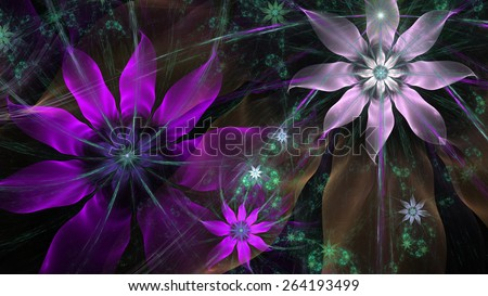 Beautiful glowing modern high resolution flower background with a detailed flower pattern with plastic natural looking 3D leaves, all in high resolution and in pink,green,silver,brown - stock photo
