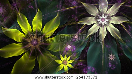 Beautiful glowing modern high resolution flower background with a detailed flower pattern with plastic natural looking 3D leaves, all in high resolution and in yellow,green,pink,silver - stock photo