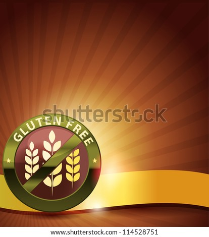 Beautiful gluten free design. Golden ribbon, harmonic and bright color combination. - stock photo