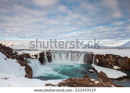 Beautiful Godafoss fall in the morning, Iceland - stock photo