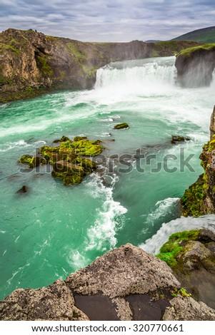 Beautiful Godafoss waterfall - stock photo