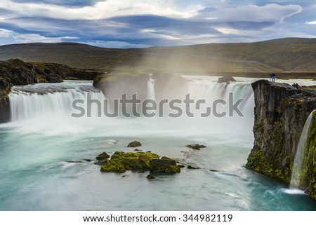 Beautiful Godafoss waterfall in Iceland - stock photo