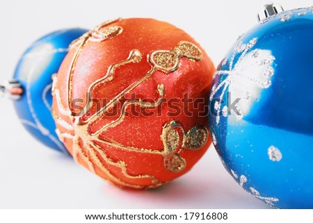 Beautiful gold and blue ball against the white background