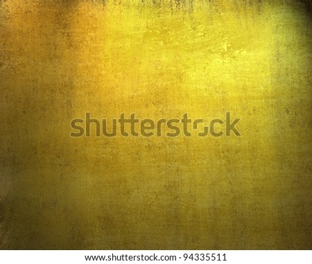 beautiful gold background with dark vintage grunge texture and lighting of black vignette frame on border of canvas with distressed stain streaks on wallpaper illustration design for  anniversary - stock photo