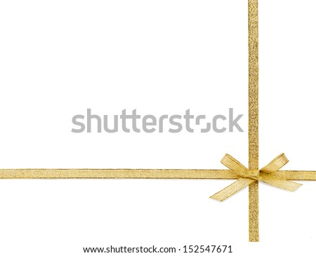 Beautiful gold bow isolated on white background  - stock photo