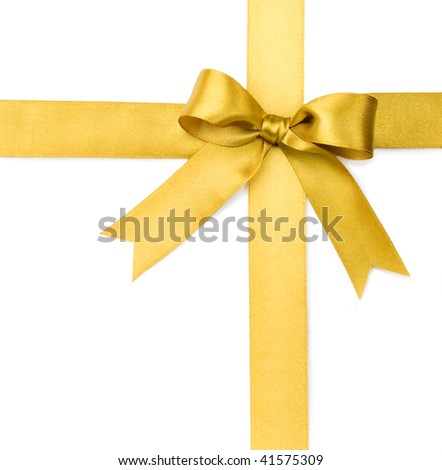 Beautiful gold bow on white background - stock photo
