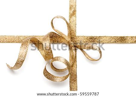 Beautiful gold bow on white background - stock photo