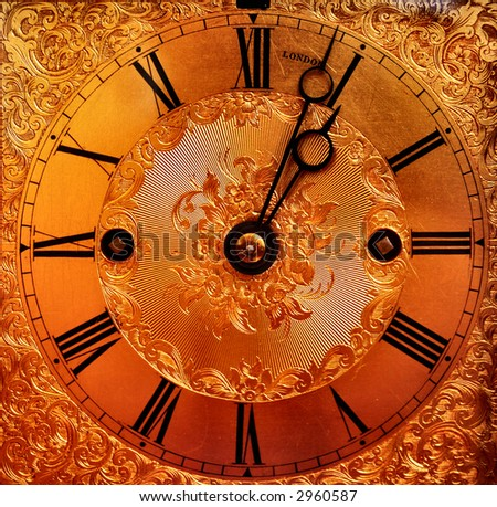 beautiful gold clock face - stock photo