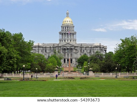 Beautiful gold dome of the capitol building in downtown Denver, Colorado