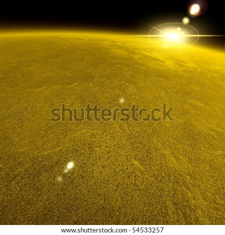 Beautiful Gold Planet View From Space - stock photo