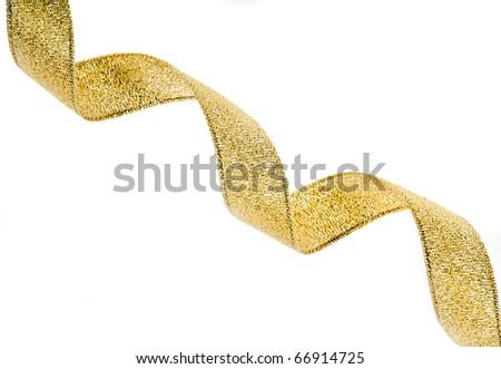 Beautiful gold ribbon curl on white background - stock photo