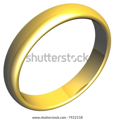 Beautiful gold ring isolated on white - stock photo
