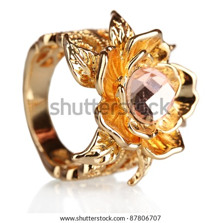beautiful gold ring with precious stone isolated on white - stock photo