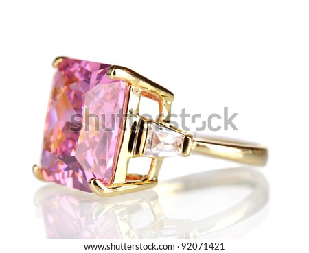 beautiful gold ring with precious stone isolated on white