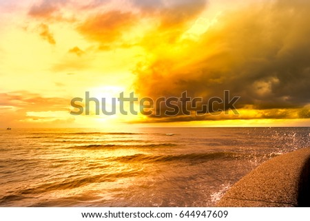 Beautiful gold sky color with beautiful gold sea color background