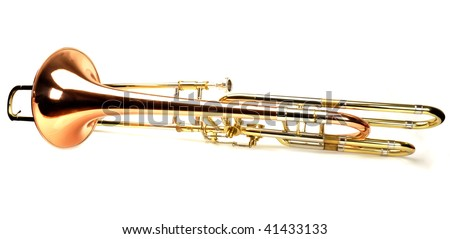 Beautiful gold trombone on white background