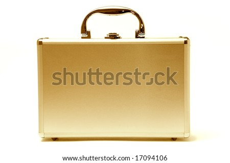 beautiful golden briefcase representing money and business - stock photo
