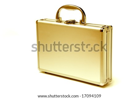 beautiful golden briefcase representing money and business
