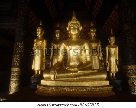 Beautiful golden buddha statue , Thailand.