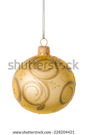 Beautiful golden Christmas ball isolated on a white background. - stock photo