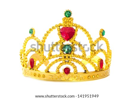 Beautiful golden crown with gems isolated over white