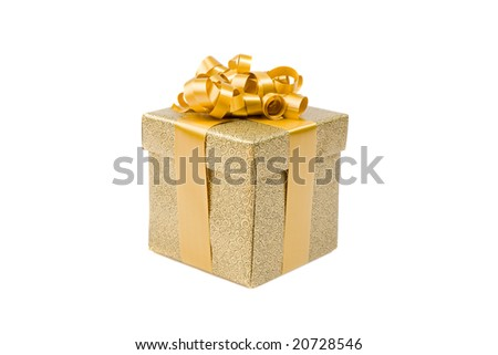 Beautiful golden gift on a over white background