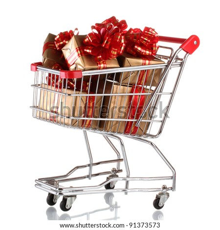 beautiful golden gifts with red ribbon in shopping cart isolated on white