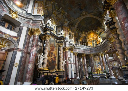 Beautiful golden interior of Residence palace in Wurzburg - stock photo