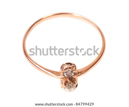 Beautiful golden jewellery ring isolated on white background - stock photo