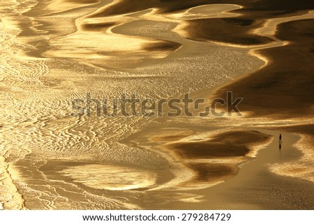 beautiful golden light on the sand beach background - stock photo