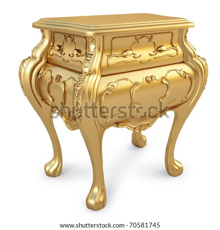 beautiful golden nightstand. isolated on white. - stock photo