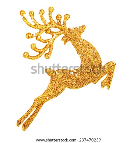 Beautiful golden reindeer toy isolated on white background, little Santa helper decoration, Christmas tree bauble  - stock photo