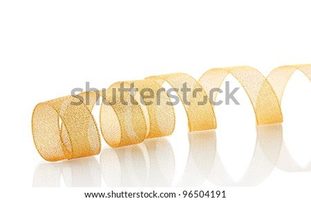 beautiful golden ribbon isolated on white - stock photo