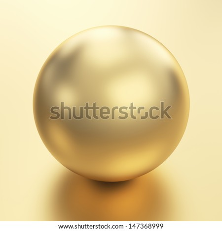 Beautiful golden sphere render isolated with clipping path - stock photo