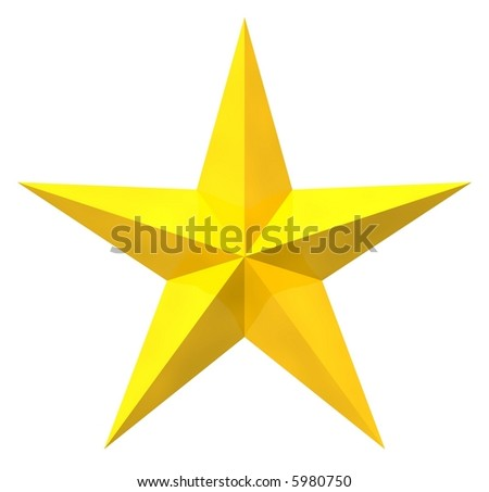 Beautiful golden star isolated on white
