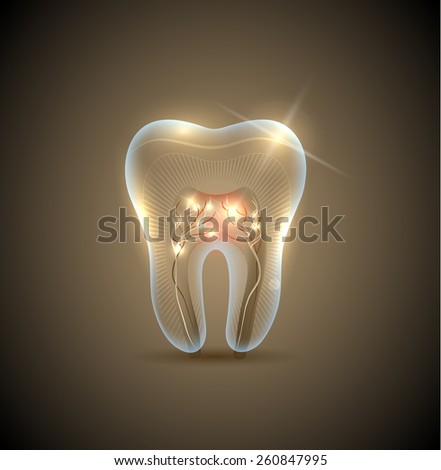Beautiful golden transparent tooth with roots illustration. Healthy teeth care symbol. - stock photo