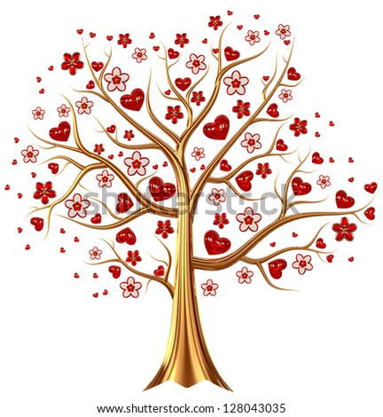 Beautiful golden tree with expensive ruby red heart-shaped leafs, and vermeil flowers as jewelry - stock photo