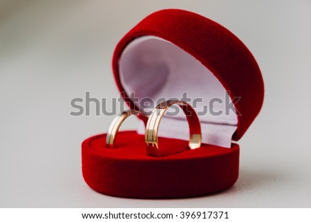 beautiful Golden wedding rings in red box