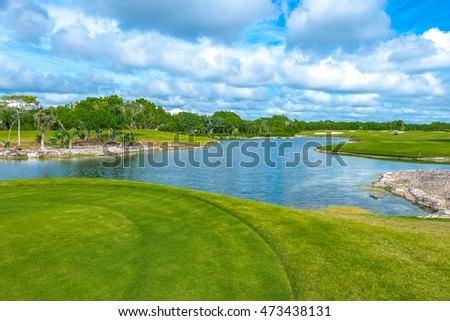 Beautiful golf course and the lake.