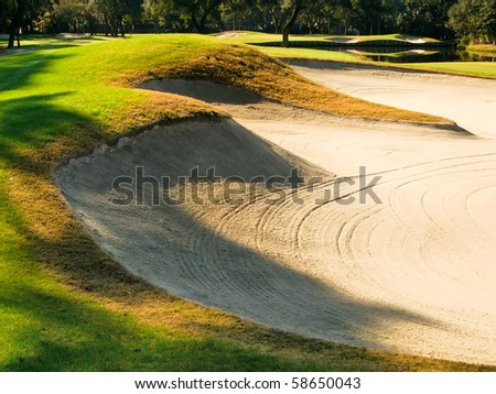 Beautiful Golf Course in the Late Afternoon - stock photo
