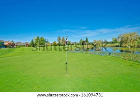 Beautiful golf course  in the suburbs of Vancouver, Canada. Vertical.