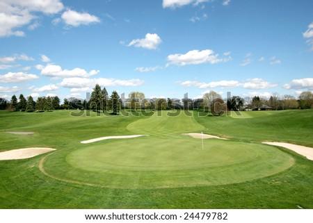 beautiful golf course landscape - stock photo