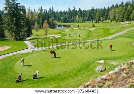 Beautiful  golf course  Vancouver, Canada. - stock photo