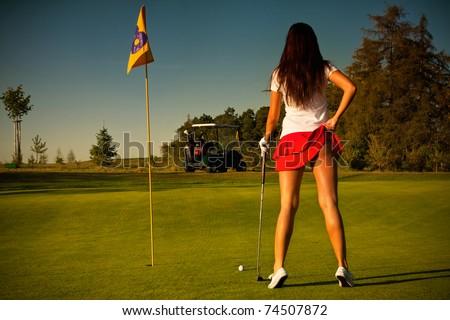 beautiful golf girl - stock photo