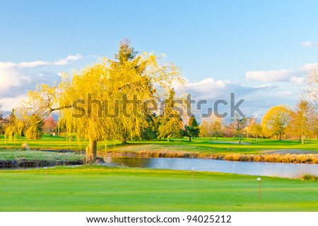 Beautiful golf place with gorgeous green and pond
