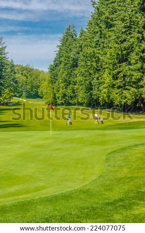 Beautiful golf with red flag course in a sunny day. Vertical. - stock photo