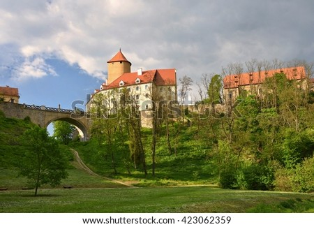 Beautiful Gothic castle Veveri. The city of Brno at the Brno dam. South Moravia - Czech Republic - Central Europe.