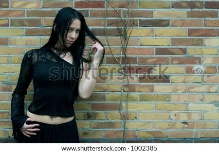 Beautiful Gothic Girl - stock photo