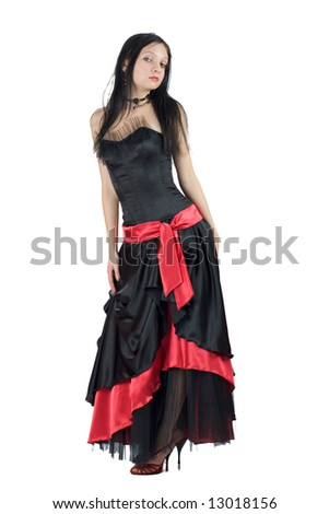 Beautiful Gothic Girl wearing black dress with red ornate isolated on white - stock photo